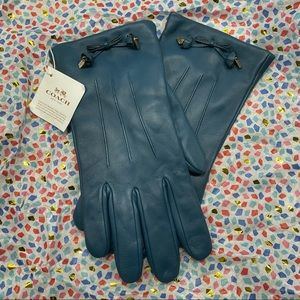 Coach Teal Leather Gloves
